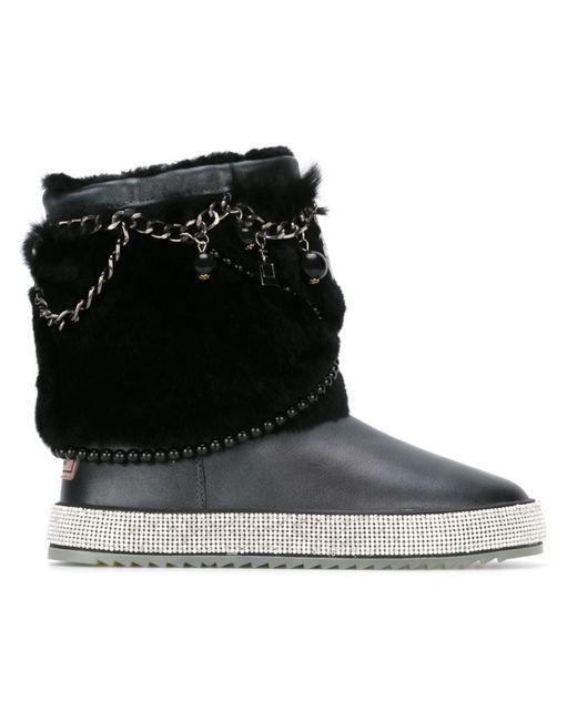 GIANNI RENZI | Женские Чёрные Ботинки С Отделкой Мехом