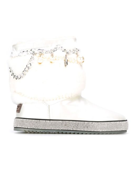 GIANNI RENZI   Женские Белые Декорированные Ботинки С Меховой Отделкой