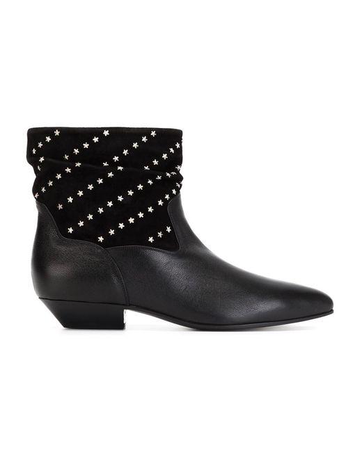Saint Laurent | Женские Чёрные Ботинки С Заклепками