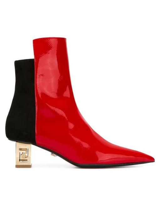 Versace | Женские Красные Ботинки На Контрастном Каблуке Greek