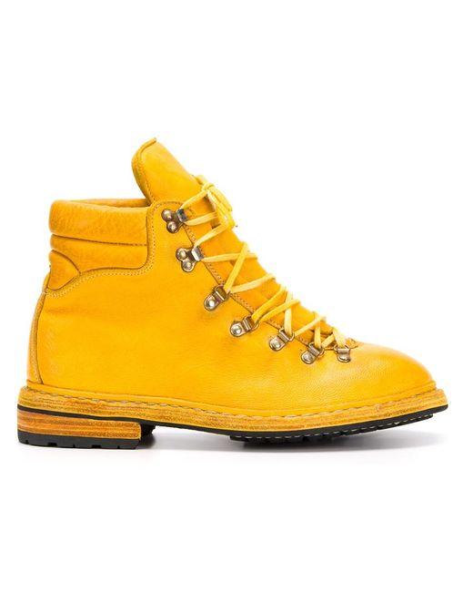 GUIDI | Мужские Жёлтые Походные Ботинки На Шнуровке
