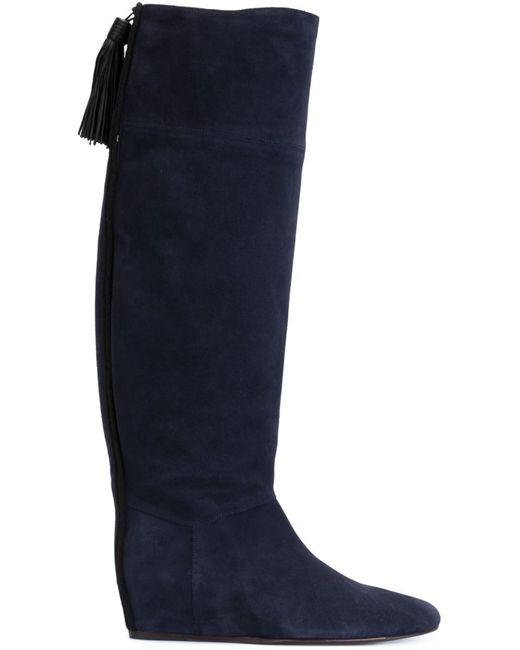 Lanvin   Синий Concealed Wedge Tassel Boots