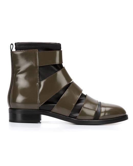 MM6 by Maison Margiela | Женские Зелёные Ботинки С Вставкой-Носком
