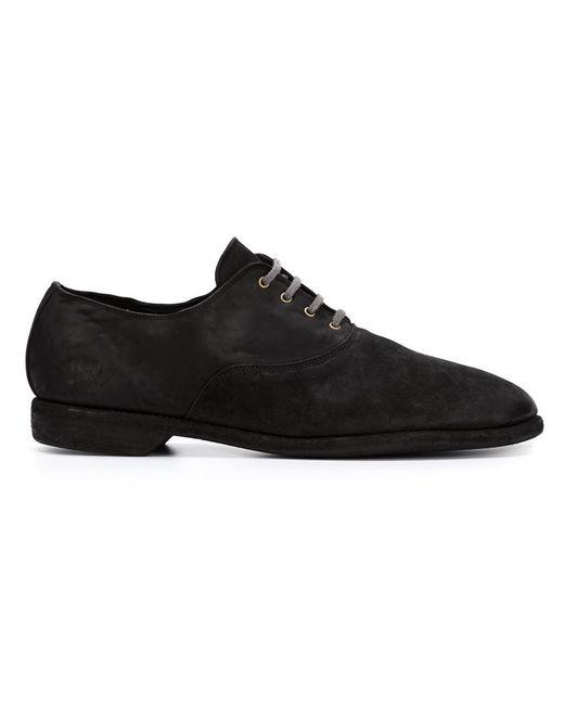 GUIDI | Мужские Чёрные Туфли На Шнуровке