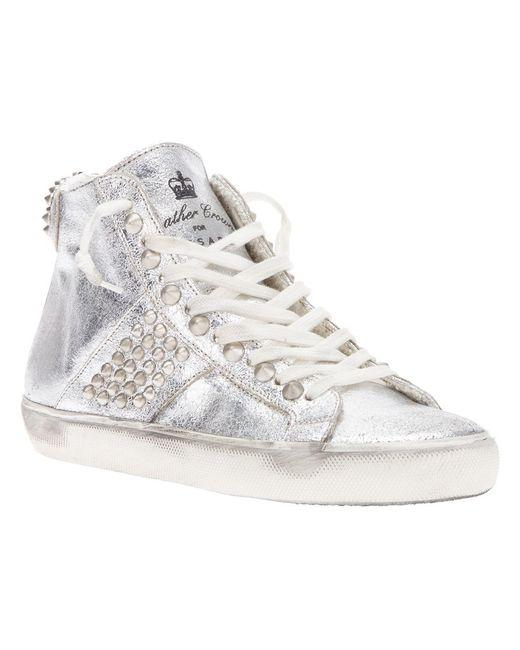 Leather Crown | Женское Metallic Studded Hi-Top Sneaker