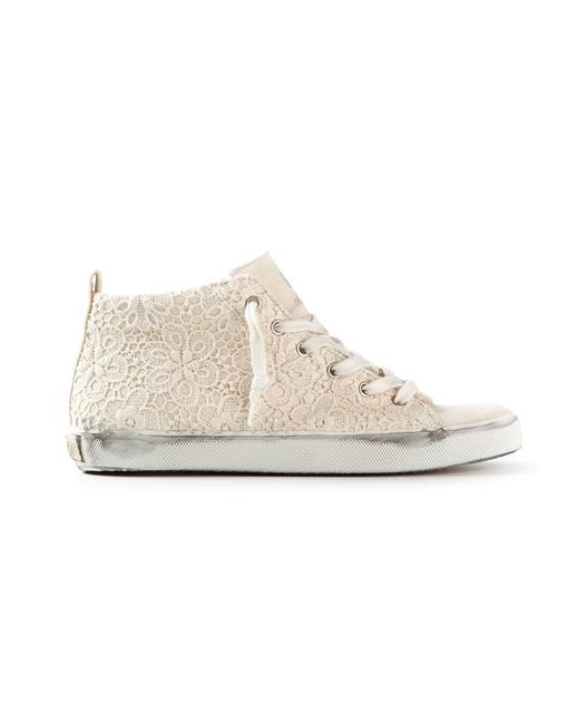 Leather Crown | Женское Nude & Neutrals Embroidered Hi-Top Trainer