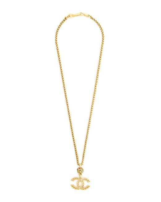 Chanel Vintage   Женское Желтый Logo Pendant Necklace