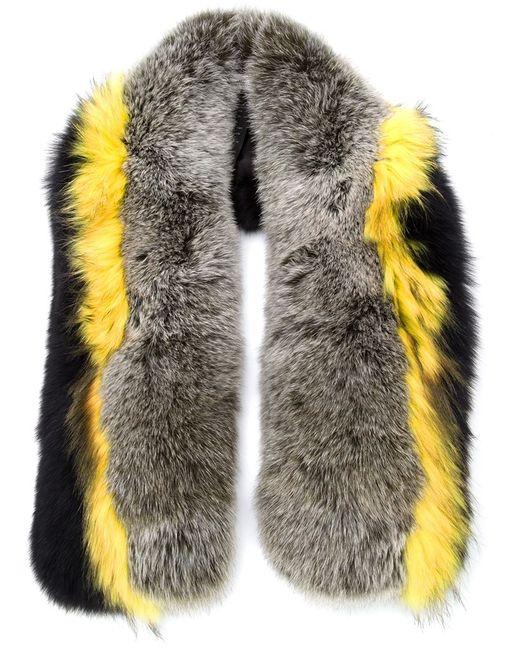 Yves Salomon   Женское Серый Raccoon Fur Striped Scarf