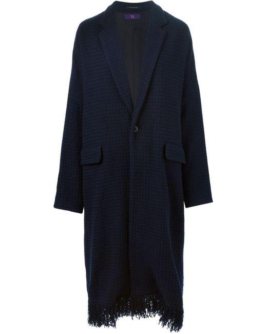 Y'S | Женское Синее Длинное Пальто С Бахромой На Подоле