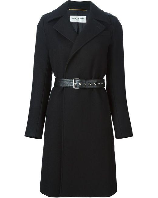 Saint Laurent   Женское Чёрное Пальто С Поясом