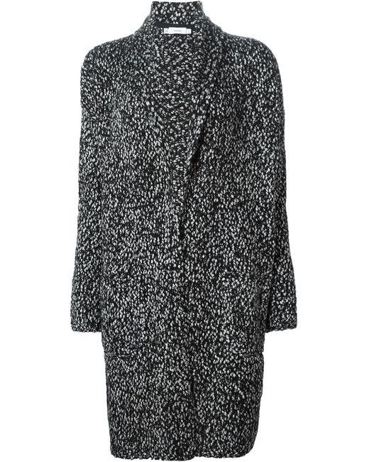 Vince | Женское Чёрное Пестрое Пальто Крупной Вязки