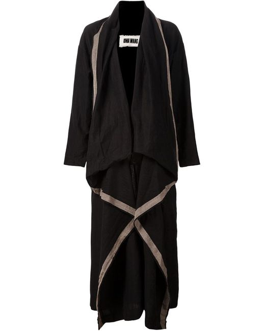 UMA WANG | Женское Чёрное Драпированное Пальто