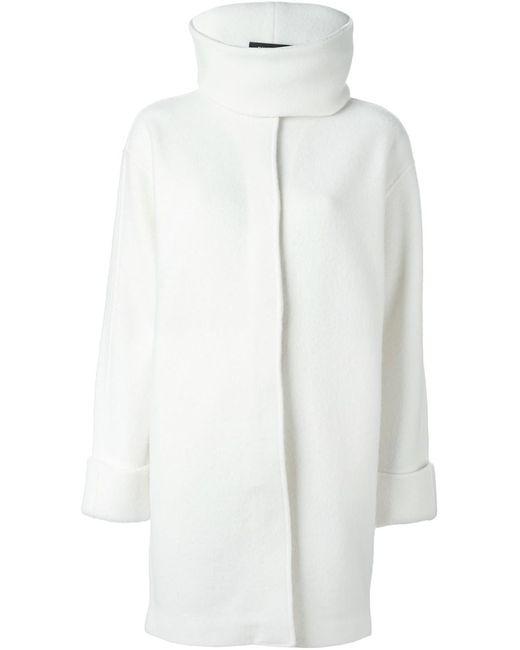 Ralph Lauren Black Label | Женское Белое Пальто С Воротником-Воронкой