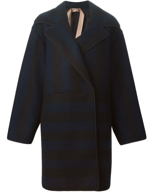 No21 | Женское Синий Striped Oversized Coat