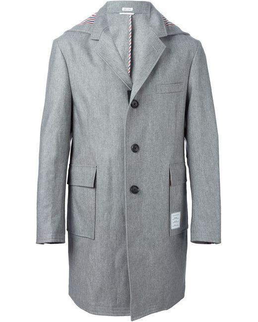 Thom Browne | Мужское Чёрное Однобортное Пальто С Капюшоном