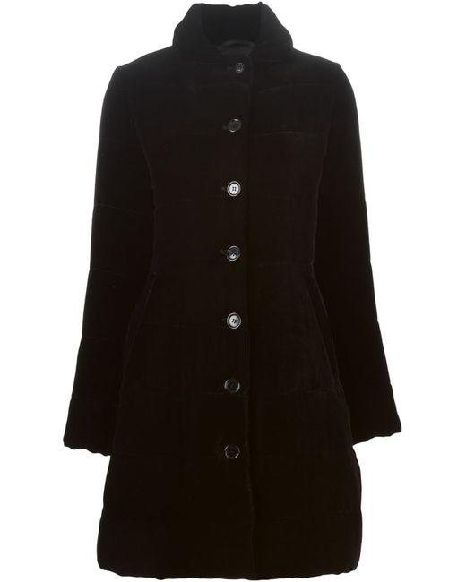Aspesi | Женское Чёрное Бархатное Однобортное Пальто