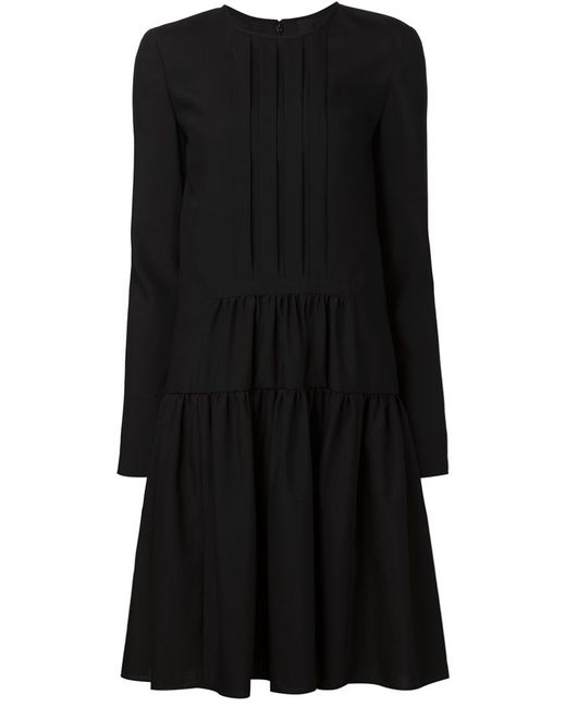 Vera Wang | Женское Чёрный Dropped Waist Longsleeved Dress