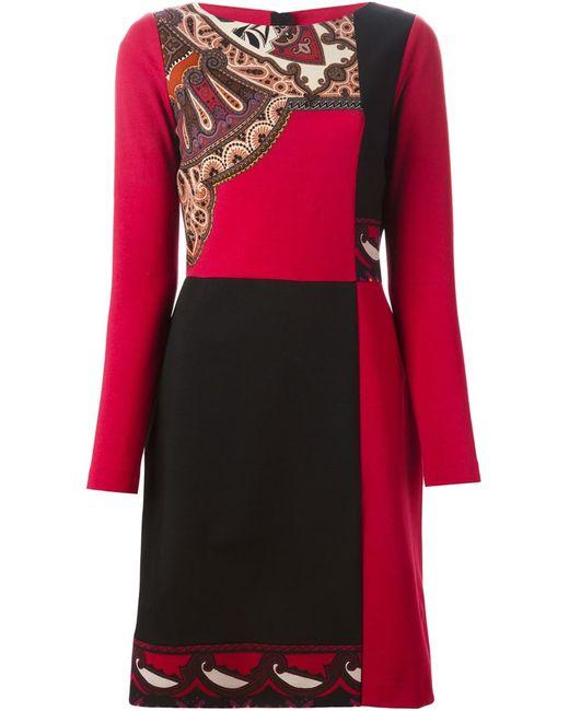 Etro   Женское Красное Платье С Панельным Дизайном
