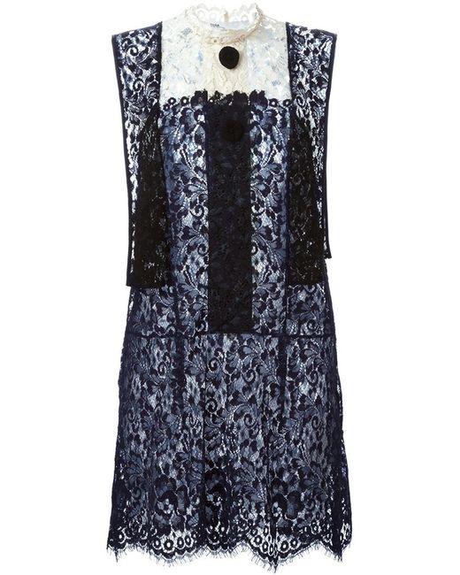 Toga | Женское Чёрное Кружевное Платье С Панельным Дизайном