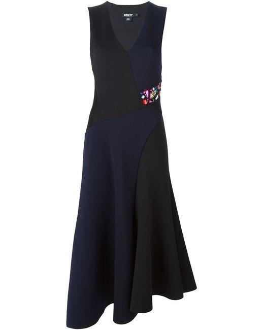 DKNY | Женское Синее Расклешенное Платье Колор-Блок