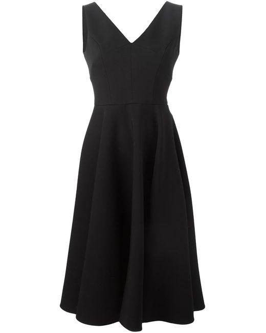 Dolce & Gabbana | Женское Чёрное Раслкшенное Платье C V-Образным Вырезом