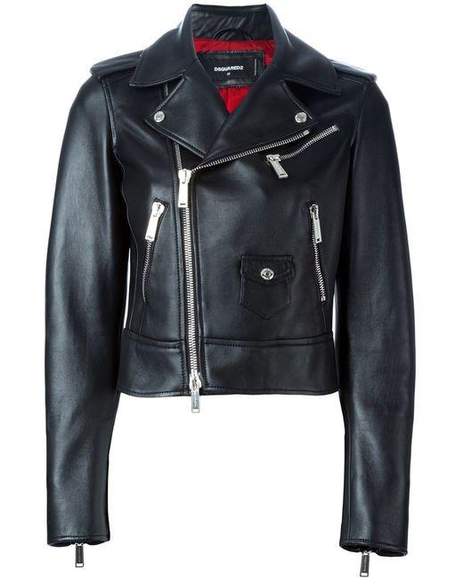 Dsquared2 | Женская Чёрная Укороченная Байкерская Куртка