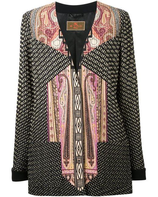 Etro   Женское Многоцветный Mixed Print V-Neck Jacket