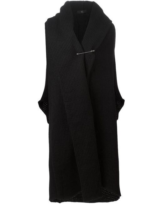 Y'S | Женское Чёрный Oversized Ribbed Cardi-Coat
