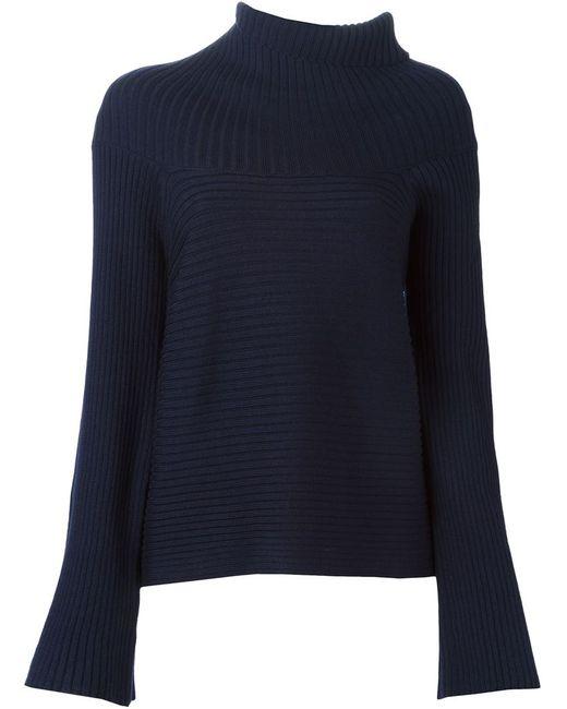 Maison Margiela | Женский Синий Асимметричный Свитер В Рубчик