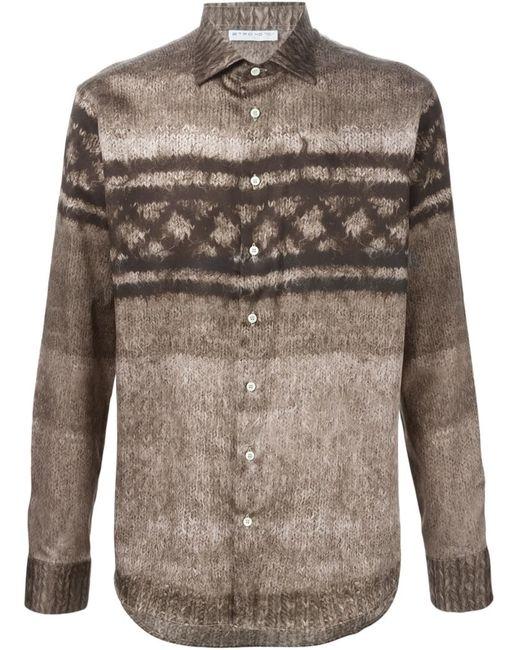 Etro | Мужское Nude & Neutrals Knit Print Shirt