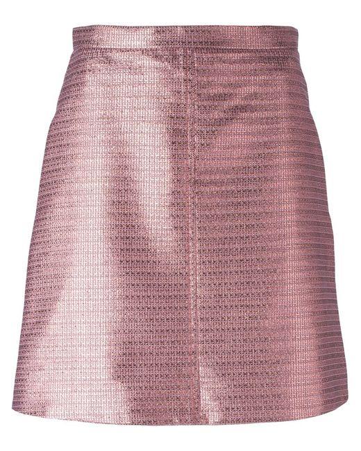 Carven   Женская Розовая Жаккардовая Мини-Юбка