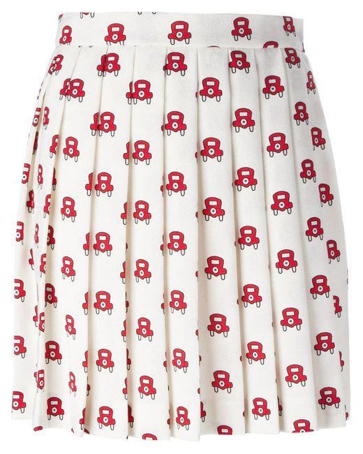 Au Jour Le Jour | Женское Белый Car Print Pleated Skirt