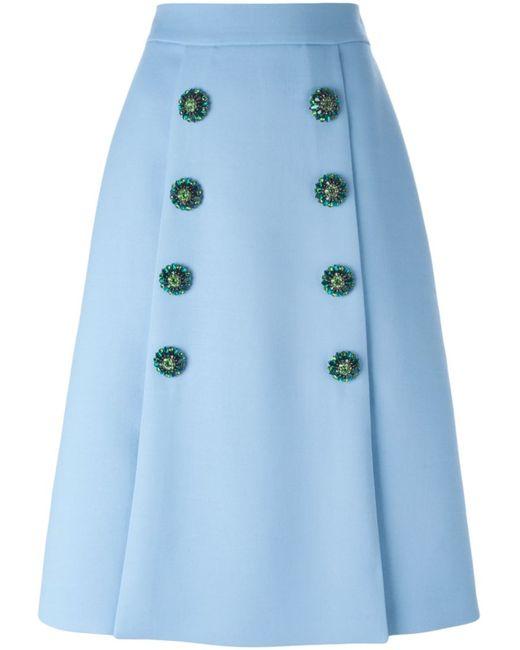 Dolce & Gabbana   Женская Синяя Юбка На Пуговицах