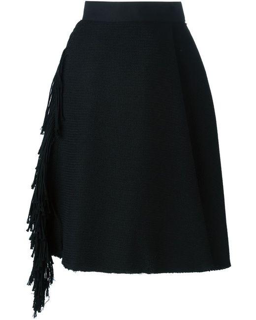 Lanvin | Женская Чёрная Юбка С Бахромой