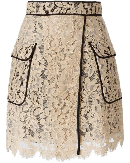 MSGM | Женское Nude & Neutrals Lace Piped Skirt