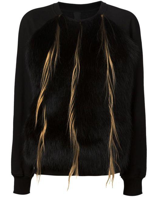 Vera Wang   Женское Чёрный Raccoon And Goat Fur Panel Sweatshirt