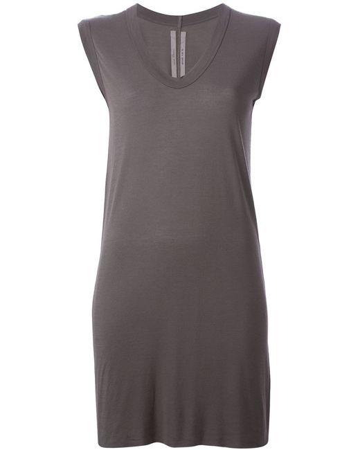 Rick Owens | Женское Серое Платье C V-Образным Вырезом