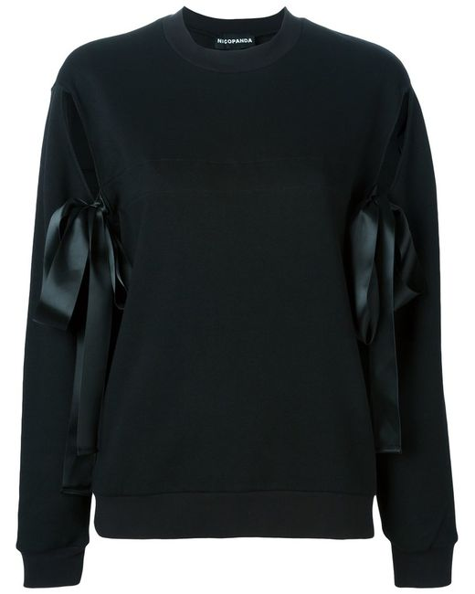 NICOPANDA | Женское Чёрный Cutout Ribbon Sweatshirt
