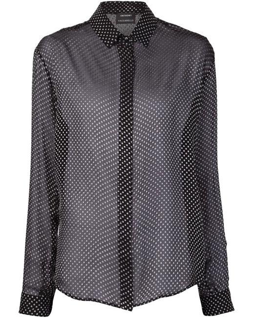 Anthony Vaccarello   Женское Чёрный Blurred Dot Print Sheer Shirt