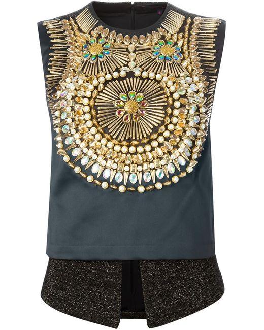 Manish Arora | Женское Чёрный Embellished Sleeveless Top