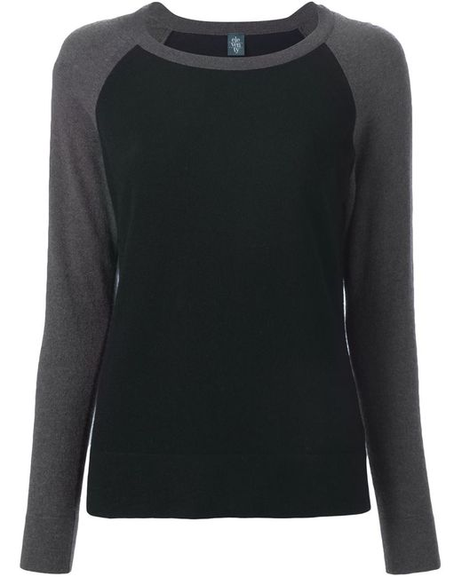 Eleventy   Женское Серый Contrasting Raglan Sleeves Sweater