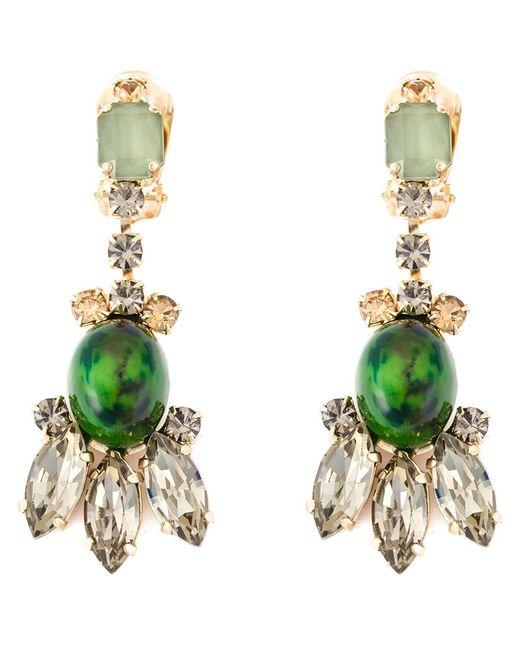 Marni | Женское Зелёный Embellished Clip-On Earrings