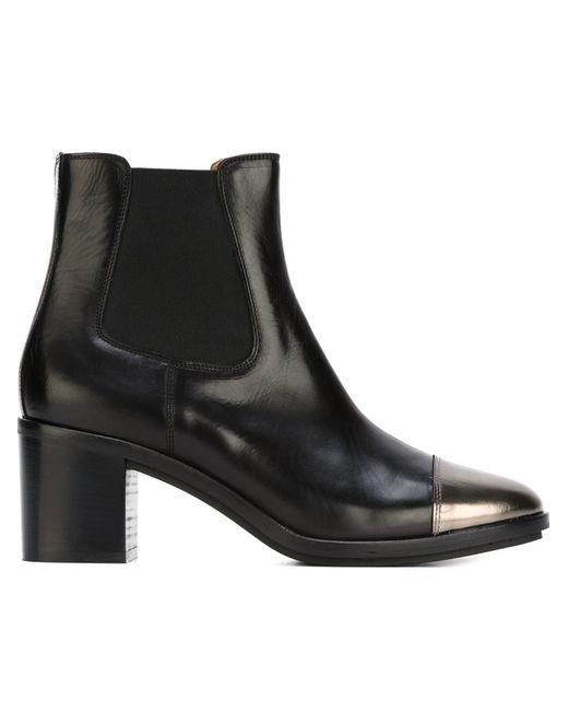L' Autre Chose | Женские Чёрные Ботинки С Контрастным Носком