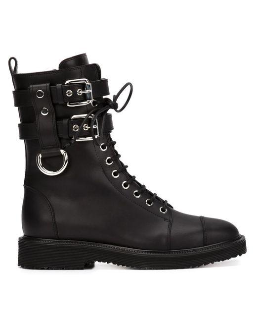 Giuseppe Zanotti Design   Чёрный Buckled Combat Boots