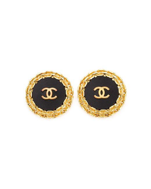 Chanel Vintage | Женское Чёрный Oversized Round Logo Earrings