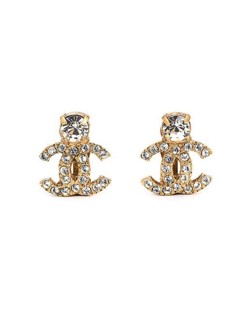 Chanel Vintage   Женское Желтый Rhinestone Embellished Logo Earrings