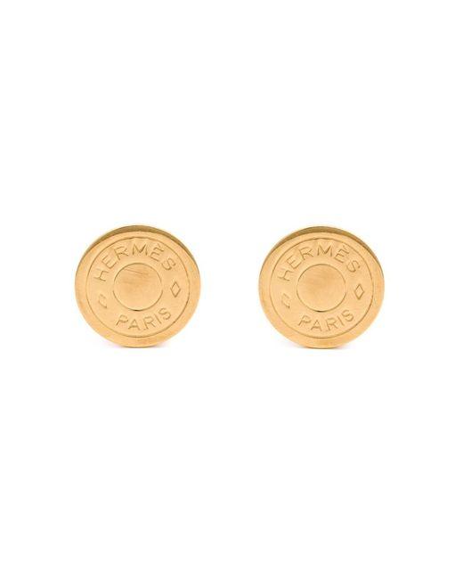 Hermès Vintage   Женское Metallic Logo Clip-On Earrings