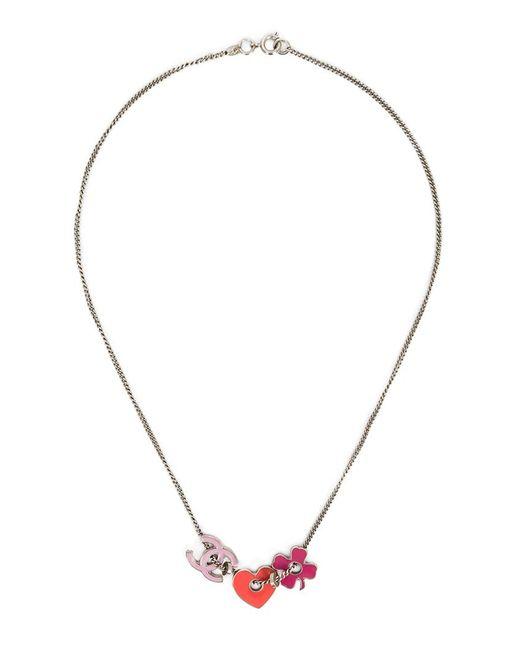 Chanel Vintage   Женское Серый Logo Heart And Clover Charm Pendants Necklace