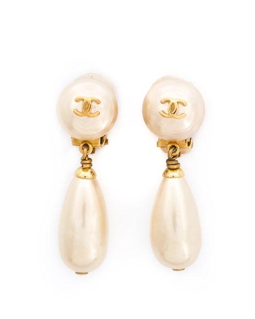 Chanel Vintage | Женское Белый Pearl Drop Earring