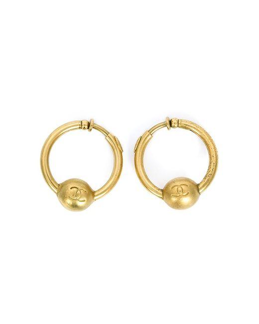 Chanel Vintage | Женское Желтый Logo Hoop Earrings